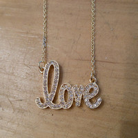 Gold Rhinestone Love Necklace   Candy's Cottage