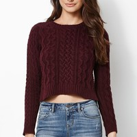 Kendall & Kylie Cable Stitch Cropped Pullover Sweater - Womens Sweater