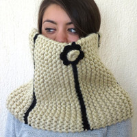 Chunky Cowl Flower Scarf ..Huge Chunky Infinity Scarf ..Bonnet / Oatmeal and Black.... Striped scarf,knit scarf,gift ideas.