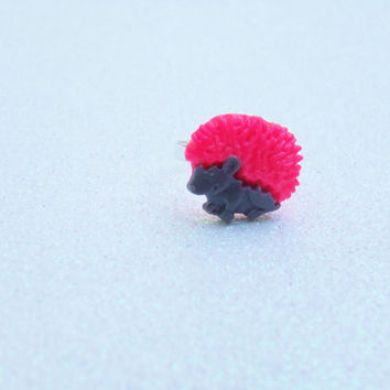 Grey & Neon Pink Hedgehog Adjustable Ring - Pet Lover Ring - Animal Lover Ring - Punk Rock - Color Block Color Blocked - Polymer Clay Ring