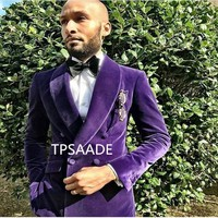 Purple Velvet Shawl Collar Men Suit Handsome Double Breasted Jacket 2017 Tuxedo For Party New Style Suits (Jacket+Pants+Bow Tie)