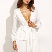 Plunging V Neckline Self Tie Tiered Dress