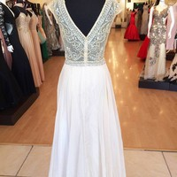 2014 Sexy Evening Gowns With sheer Short Sleeves Backless See Through Crystal Beaded Bodice Chiffon A Line Long Prom Dresses 2014 Party Gown