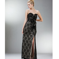 Black Lace Strapless Sweetheart Gown 2015 Prom Dresses