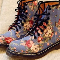 Lace-Up Ankle Boots with Floral Print from southlanecherry