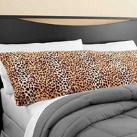"""Elegant Faux Fur Body Pillow Cover - Removable with Zip Cover - Cheetah / Leopard Print- Fits up tp 20"""" x 52"""" Pillow"""
