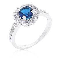 Belle Sapphire Blue Halo Engagement Cocktail Ring | 2.5ct