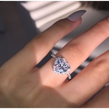 Classic micro inlaid heart-shaped simulation diamond ring banquet engagement hand jewelry women