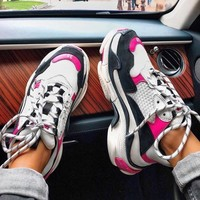 Balenciaga Mixed Colors Classic Popular Women Running Sport Shoes Sneakers Pink&White