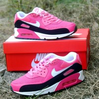 Best Online Sale Nike Air Max WMNS 90 LE GS Black Pink Running Shoes Sport Shoes 631392-600