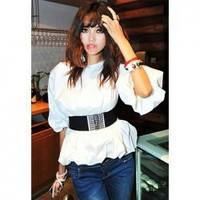 Sophisticated Puff Sleeve White Blouse For Women(With Belt)