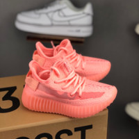 HCXX 19July 240 Adidas Yeezy Boost 350v2 kid Flyknit Transparent Logo Insole Sports Casual Sneakers ink red