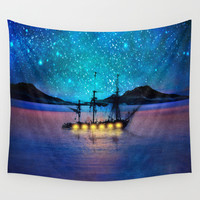Ship in the lights Wall Tapestry by Viviana Gonzalez