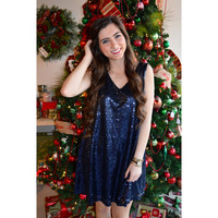Twinkling Lights Sequin Tank Dress- Navy