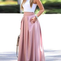 Pink Pleated Pockets Tutu High Waisted Homecoming Party Long Skirt