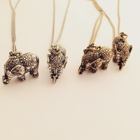 Elephant Pendant Necklace - Gold or Silver