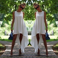Women Summer Chiffon Maxi Evening Party  Asymmetrical  O-neck Boho Beach Dress