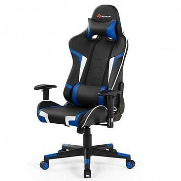 Reclining Swivel Massage Gaming Chair with Lumbar Support-Blue - Color: Blue