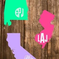 """FREE SHIPPING! - 6"""" State Outline Car Decal Monogram - Font Choices Available!"""