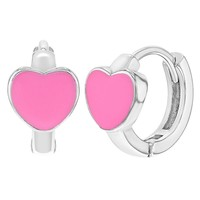 925 Sterling Silver Small Heart Enamel Girls Children Huggie Earrings 10mm