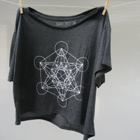 Loose Flowy Sacred Geometry Cropped tee Metatron's Cube