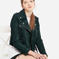Obey City Moto Suede Jacket in Green - Urban Outfitters