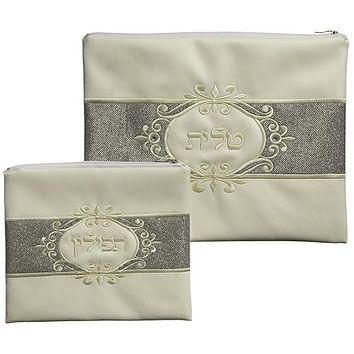 White Faux Leather Tallit And Tefillin Set Laid With Stones- Centered Silver Glitter 30x37 Cm