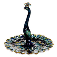 Peacock Enameled Pewter Ring Jewelry Holder By Welforth