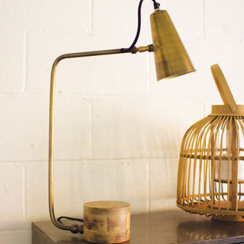 Antique Brass Table Lamp with Wood Base
