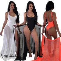 Two-Pieces Set Women Solid Swimsuit Swimwear +Cover Up Sheer Beach Maxi Wrap Skirt Sarong Pareo Tulle Dress Cover Up Plus Size