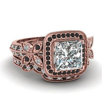 AMAZING 1.67CT PRINCESS  925 STERLING SILVER ENGAGEMENT AND WEDING RING FOR HER