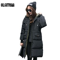 2017 Korea Fashion Female Outwear Thick Warm Parka Oversize  Down Winter Coat Women Retro With Hood Big Plus Size