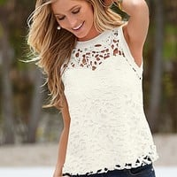 Crochet lace overlay tank by VENUS