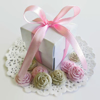 25 Wedding Candy Favor Boxes AND 125 Sugar Edible Flowers Baby Bridal Shower Party Spring Gift DIY Ivory Pink Baptism Christening