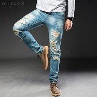 Blue Ripped Straight Jeans Men 2018 New Fashion Big Holes Scratched Jeans Pants Mens Casual Washed Cotton Stretch Jeans Homme 42