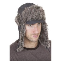 Mens Quilted Thermal Trapper/Ski Hat With Peak (One Size) (Grey)