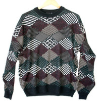 Leather Diamonds Vintage 90s Acrylic Ugly Sweater - The Ugly Sweater Shop