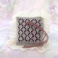 Lace Wedding Ring Bearer Pillow, Hand-knitted Natural White Pillow, Bridal Accessory