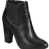 """Nina"" Leather Chunky Heel Almond Toe Ankle Booties - Black"