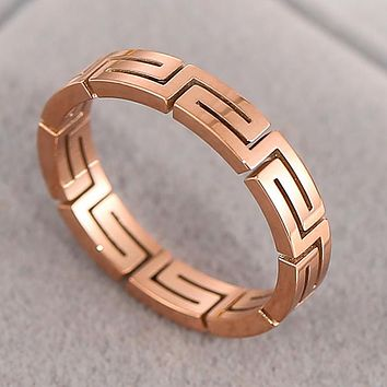 Hot Titanium Steel Grain Hollow Ring Fashion Simple Jewelry Creative Personality Ring