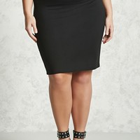 Plus Size Stretch Knit Skirt