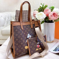 LV & Disney New fashion monogram mouse print shoulder bag crossbody bag women two piece suit