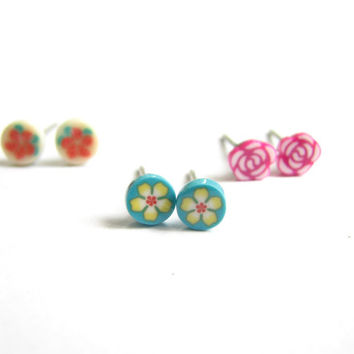 Small Flower Earrings - Set of 3 Tiny Stud Earrings, Polymer Clay Jewelry, Multiple Earrings, Mini Flower Studs, Cute Stud Earring