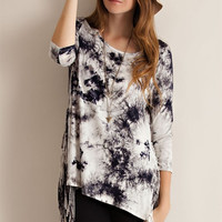 Tie-Dyed Fringe Jersey Top