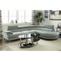 Grey Bonded Leather Modern Sectional Sofa