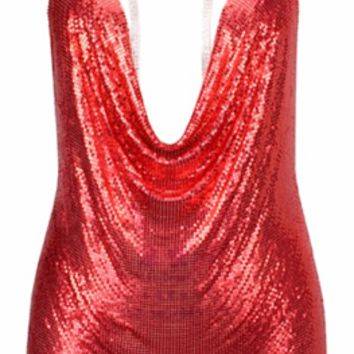 Trinity Red Sequined Choker Mini Dress