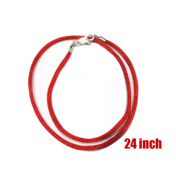 24 Inch Red Satin Cord Necklace With Silver Plated Clasp - Christmas