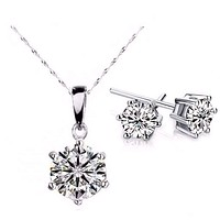 18K White Gold Plated Splendid Solitaires Round IOBI Crystals 2CT Necklace and 1CT Earrings Set For Woman