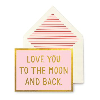 Love You To The Moon And Back Greeting Card, Single Folded Card or Boxed Set of 8