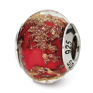 Sterling Silver, Red and Golden Speckled Murano Glass Charm